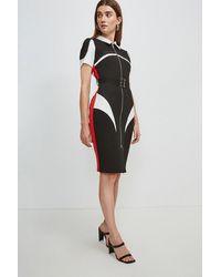 Karen Millen Compact Stretch Blocked Zip Pencil Dress - Black