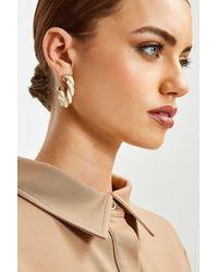 Karen Millen Twist Detail Hoop Earrings - Metallic