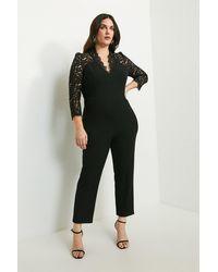 Karen Millen Curve Italian Lace Long Sleeve Forever Jumpsuit - Black