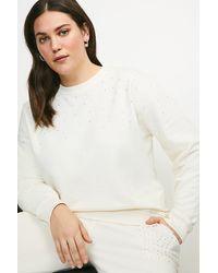 Karen Millen Curve Lounge Diamante Jersey Sweatshirt - Multicolour