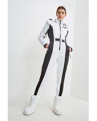 Karen Millen Colour Block All In One Ski Suit - White