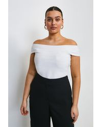 Karen Millen Curve Bandage Bardot Knitted Top - White