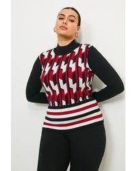 Karen Millen Curve Geo Stripe Knit Jumper - Red