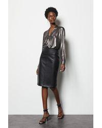 Karen Millen Faux Leather Pencil Skirt - Black