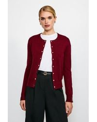 Karen Millen Gold Popper Cardigan - Red