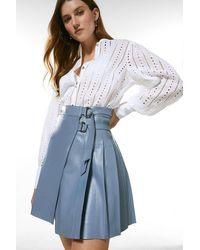 Karen Millen Leather Pleated Buckle Kilt Skirt - Blue