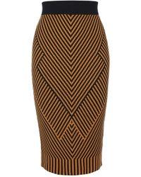 Karen Millen - Contrast Knitted Pencil Skirt - Orange/multi - Lyst