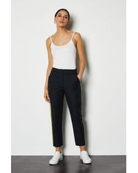 Karen Millen Tailored Capri Trouser With Side Stripe Blue