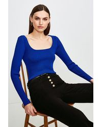Karen Millen Long Sleeve Knitted Rib Square Neck Top - Blue
