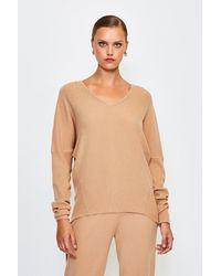Karen Millen Knit Soft Yarn V Neck Jumper - Natural