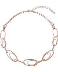 Karen Millen - Oval Pavé Necklace - Lyst