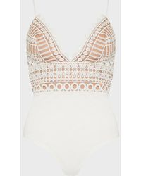 Karen Millen Strappy Geometric Lace Body - White