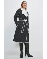 Karen Millen Reversible Quilted Trench Coat - Black