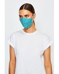 Karen Millen Reuseable Fashion Printed Face Mask - Blue