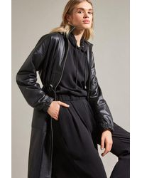 Karen Millen Luxe Hooded Top With Multistitch Detail - Black