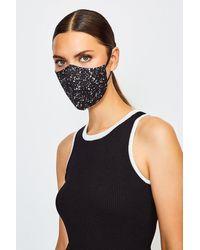 Karen Millen Reuseable Fashion Printed Face Mask - Black