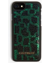 3910a24ff007 Lyst - Karen Millen Snakeskin Print Phone Case in Black