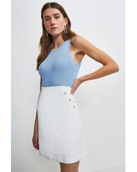 Karen Millen Essential Techno Cotton Skirt - White