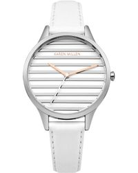 Karen Millen - Striped Dial Leather Watch - White - Lyst