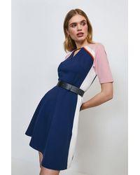 Karen Millen Piped Colour Block Belted Ponte Dress - Blue