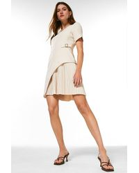 Karen Millen Tailored Military Pleat Short Sleeve Dress - Natural
