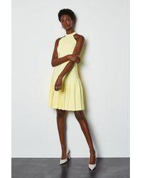 Karen Millen - Halterneck Fluted Skirt Bandage Knit Dress Lemon - Lyst