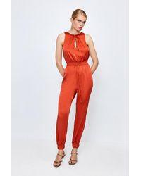 Karen Millen Luxe Sandwash Silk Jumpsuit - Red