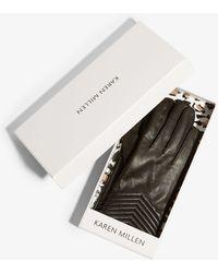 Karen Millen - Leather Quilted Gloves - Black - Lyst