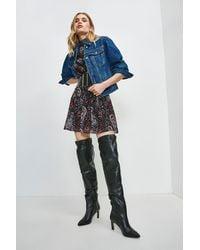 Karen Millen Puff Sleeve Denim Jacket - Blue
