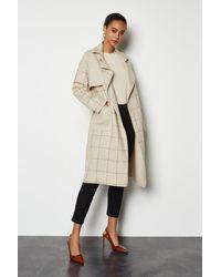 Karen Millen - Check Coat Camel - Lyst