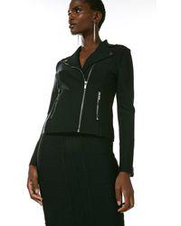 Karen Millen Bandage Knit Zip Pocket Biker Jacket - Black
