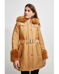Karen Millen Faux Fur Trimmed Parka Coat - Multicolour