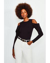Karen Millen Cold Shoulder Knitted Top - Black