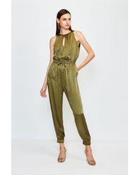 Karen Millen Luxe Sandwash Silk Jumpsuit - Green