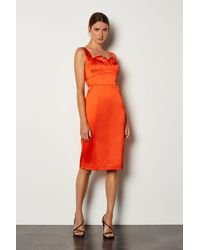 Karen Millen Italian Satin Origami Bustier Dress - Orange
