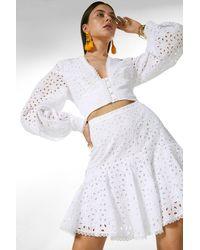 Karen Millen Cotton Broderie Buttoned Volume Sleeve Woven Top - White
