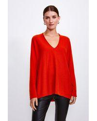 Karen Millen Cashmere Blend V-neck Jumper - Orange
