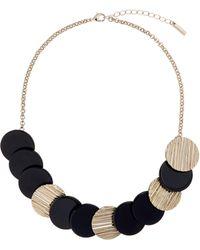 Karen Millen | Textured Disc Necklace | Lyst
