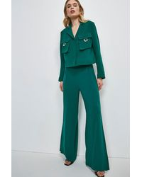 Karen Millen Luxe Side Split Wide Leg Trouser - Green