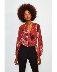 Karen Millen Floral Print Drama Wrap Body - Red