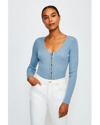 Karen Millen V Neck Button Through Cardigan - Blue