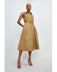 Karen Millen Cotton Utility Skirt - Brown