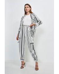 Karen Millen Stripe Linen Viscose Cuffed Trouser - White
