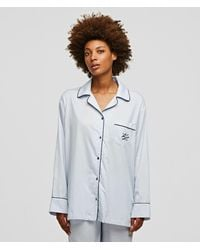 Karl Lagerfeld Long-sleeved Pipe-lined Pyjama Shirt - Multicolour