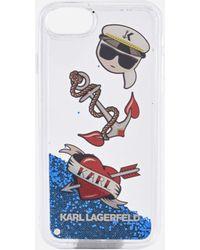 Karl Lagerfeld - Liquid Glitter Case Karl Captain Icons - Lyst