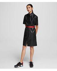 Karl Lagerfeld Faux Leather Shirt Dress - Black