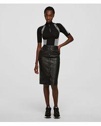 Karl Lagerfeld Leather Pencil Skirt - Black