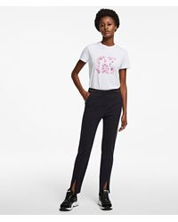 Karl Lagerfeld Slim-fit Punto Trousers With Logo Tape - Blue