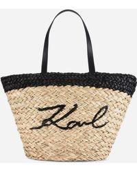 Karl Lagerfeld K/ikonik Straw Shopper - Natural