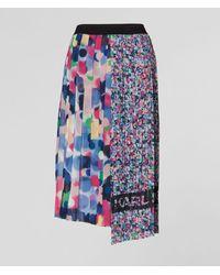 Karl Lagerfeld Floral Dot Asymmetric Pleated Skirt - Blue